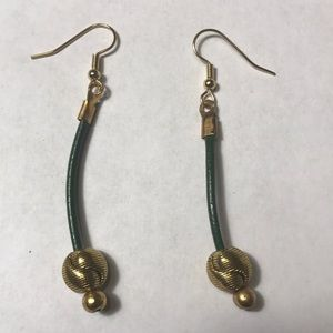 Handmade Jewelry - Green leather gold plated ball hanging earrings